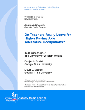 Do Teachers Really Leave for Higher Paying Jobs in Alternative Occupations?