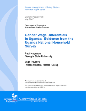 Gender Wage Differentials in Uganda: Evidence from the Uganda National Household Survey
