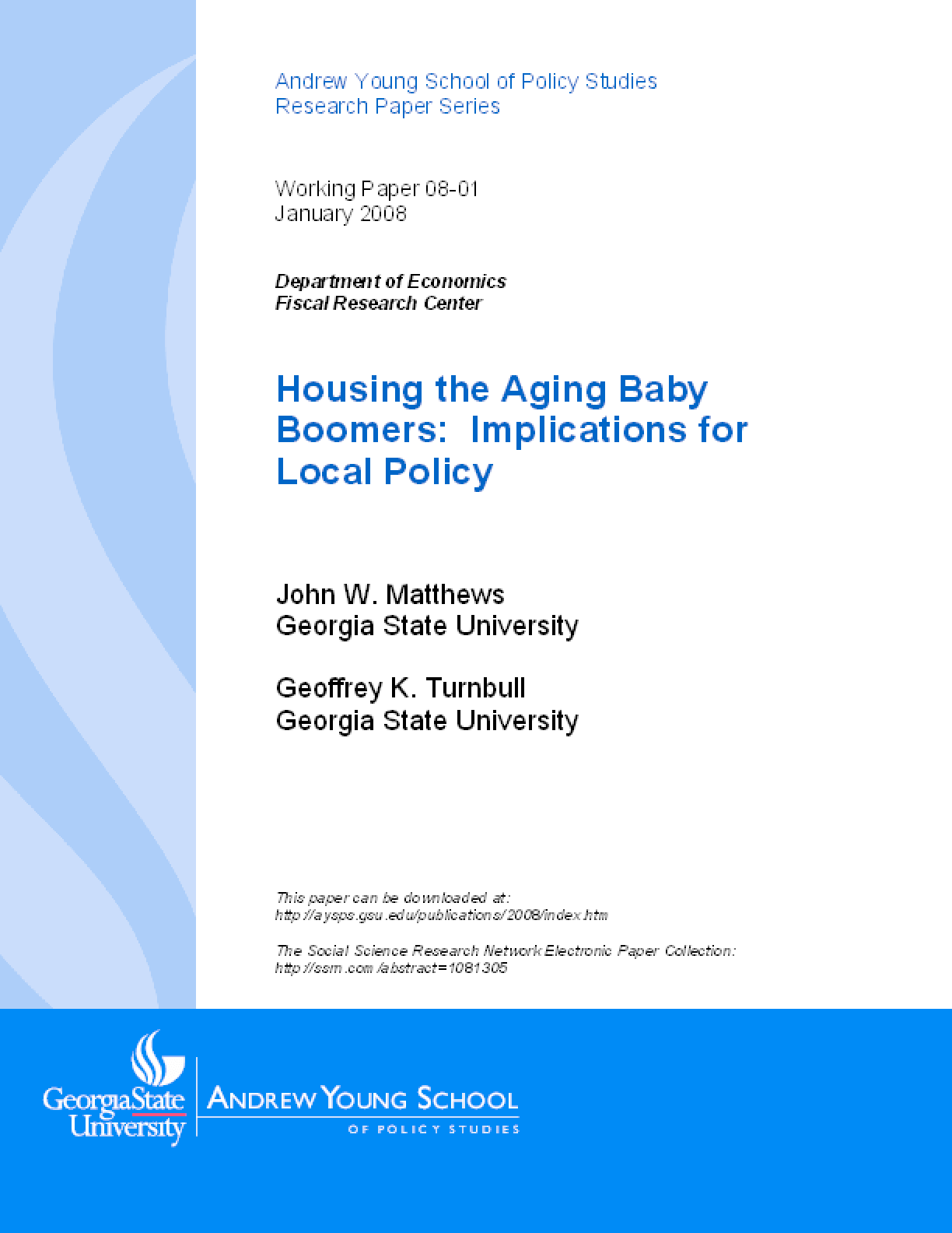 Housing the Aging Baby Boomers: Implications for Local Policy