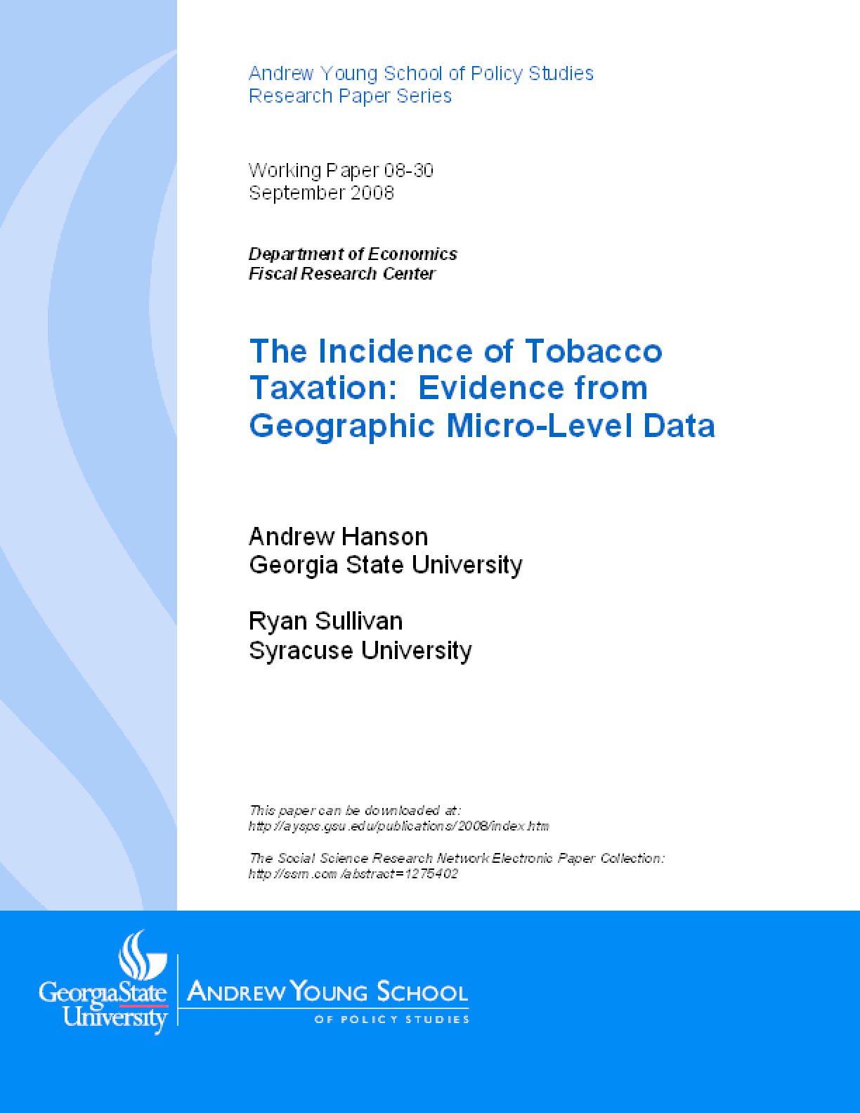 The Incidence of Tobacco Taxation: Evidence from Geographic Micro-Level Data