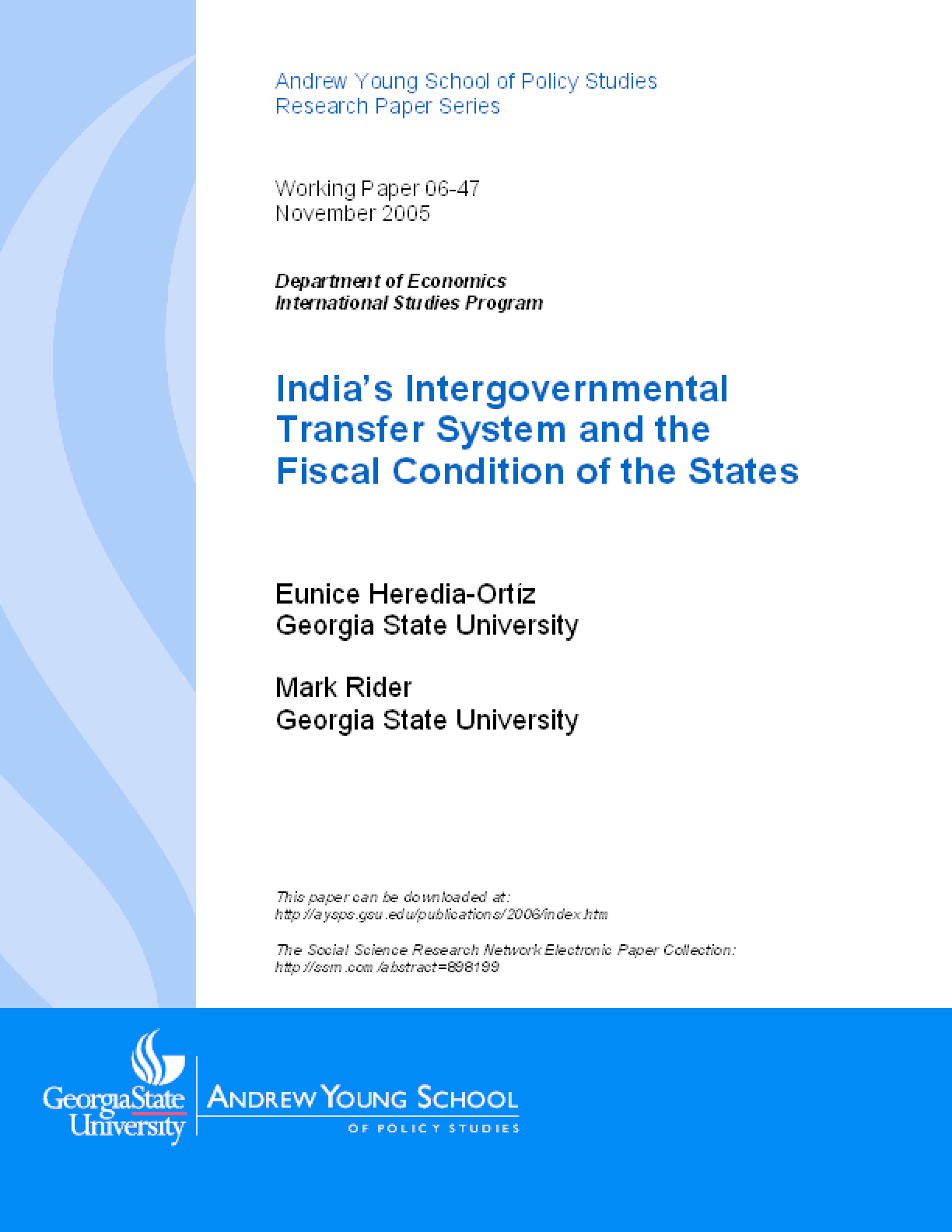 India's Intergovernmental Transfer System and the Fiscal Condition of the States