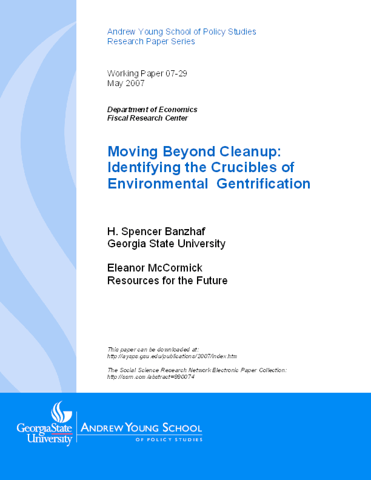Moving Beyond Cleanup: Identifying the Crucibles of Environmental Gentrification