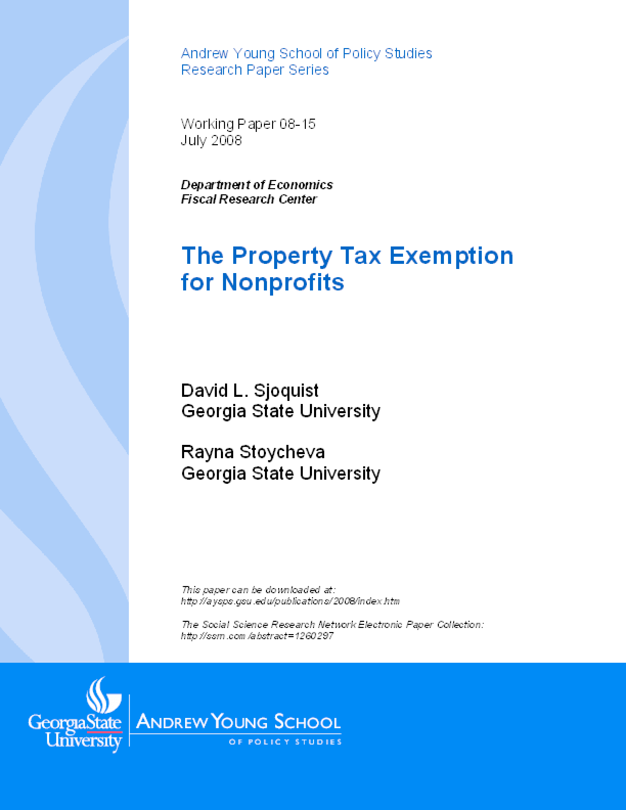 The Property Tax Exemption for Nonprofits