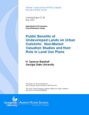 Public Benefits of Undeveloped Lands on Urban Outskirts: Non-Market Valuation Studies and their Role in Land Use Plans