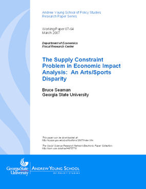 The Supply Constraint Problem in Economic Impact Analysis: An Arts/Sports Disparity
