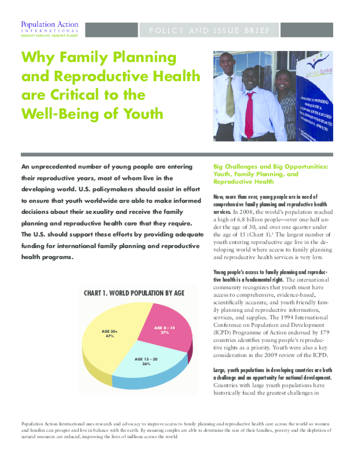 Why Family Planning and Reproductive Health are Critical to the Well-Being of Youth
