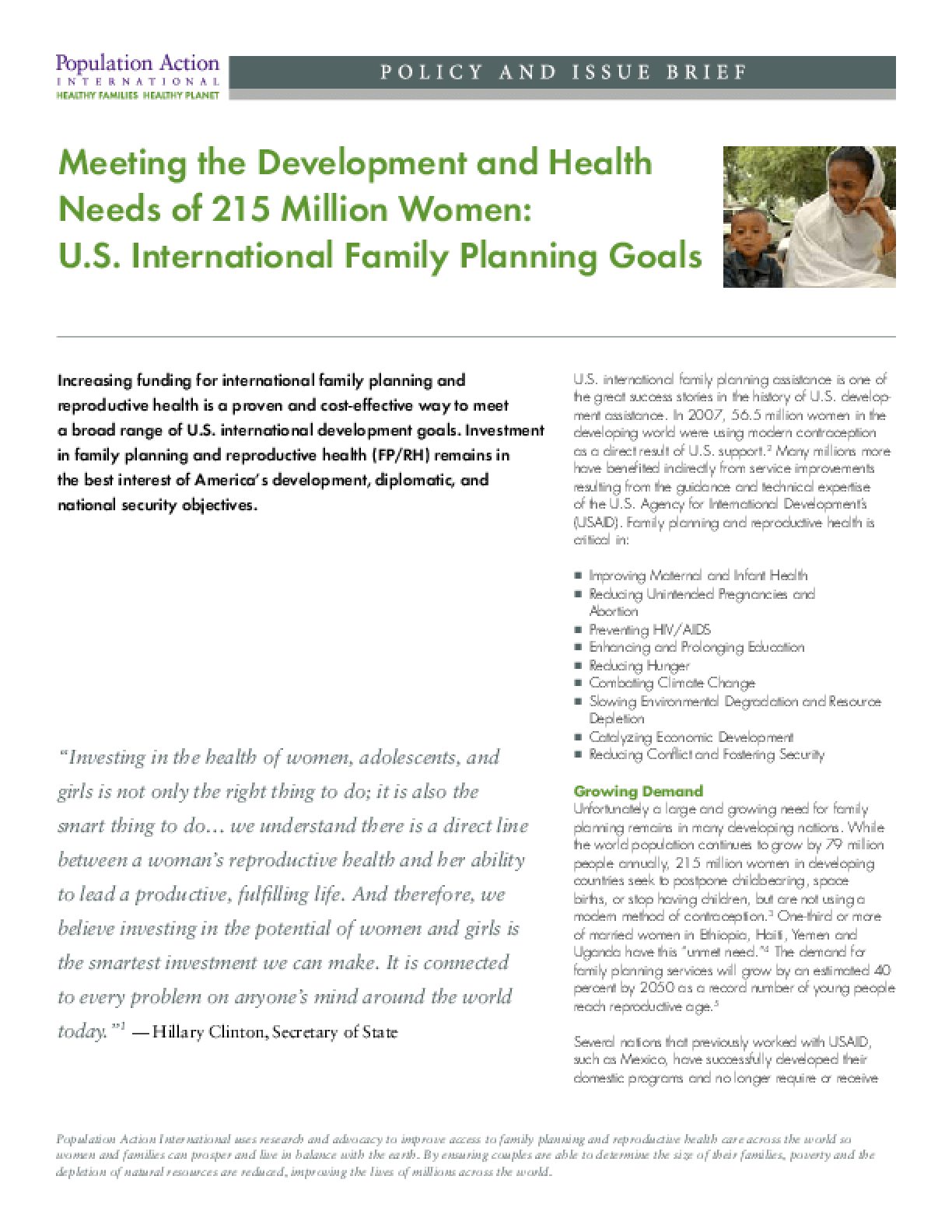 Meeting the Development and Health Needs of 215 Million Women: U.S. International Family Planning Goals