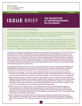 Issue Brief: The Magnitude of Underinsurance in Colorado