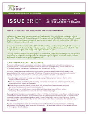 Issue Brief: Building Public Will to Achieve Access to Health