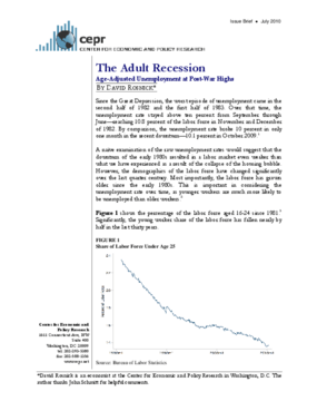 The Adult Recession: Age-Adjusted Unemployment at Post-War Highs