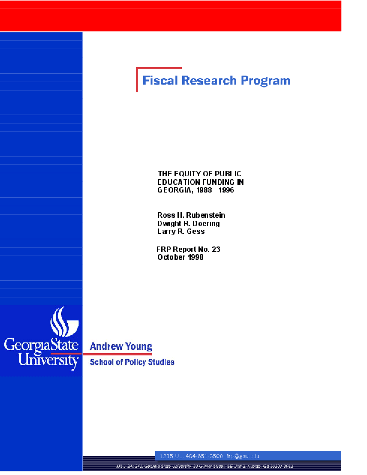 The Equity of Public Education Funding in Georgia, 1988-1996