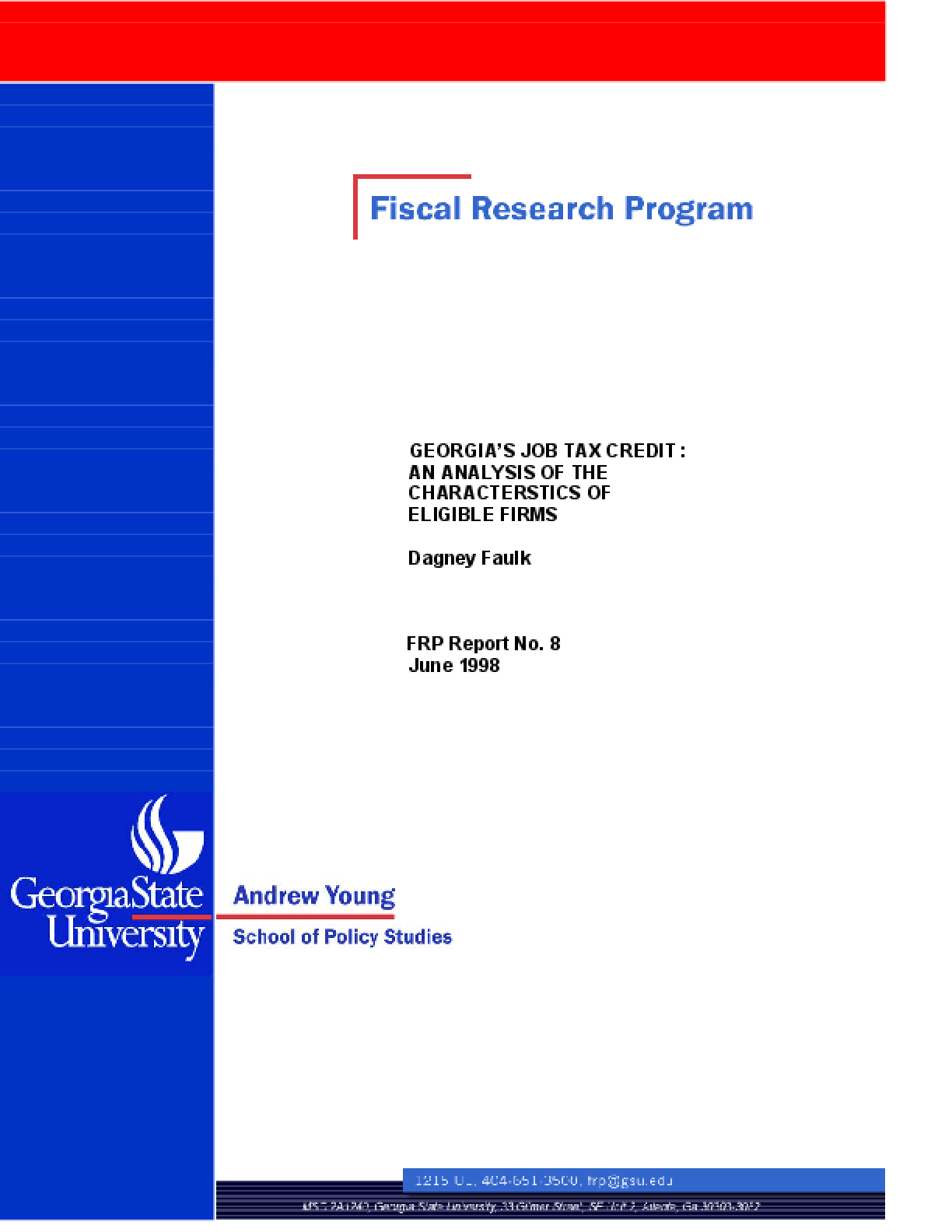 Georgia's Job Tax Credit: An Analysis of the Characteristics of Eligible Firms