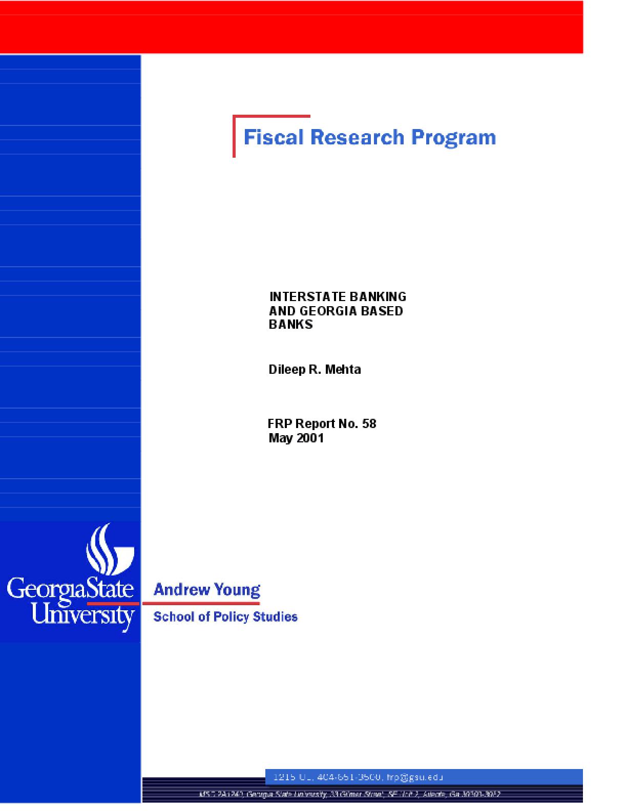 Interstate Banking and Georgia-Based Banks