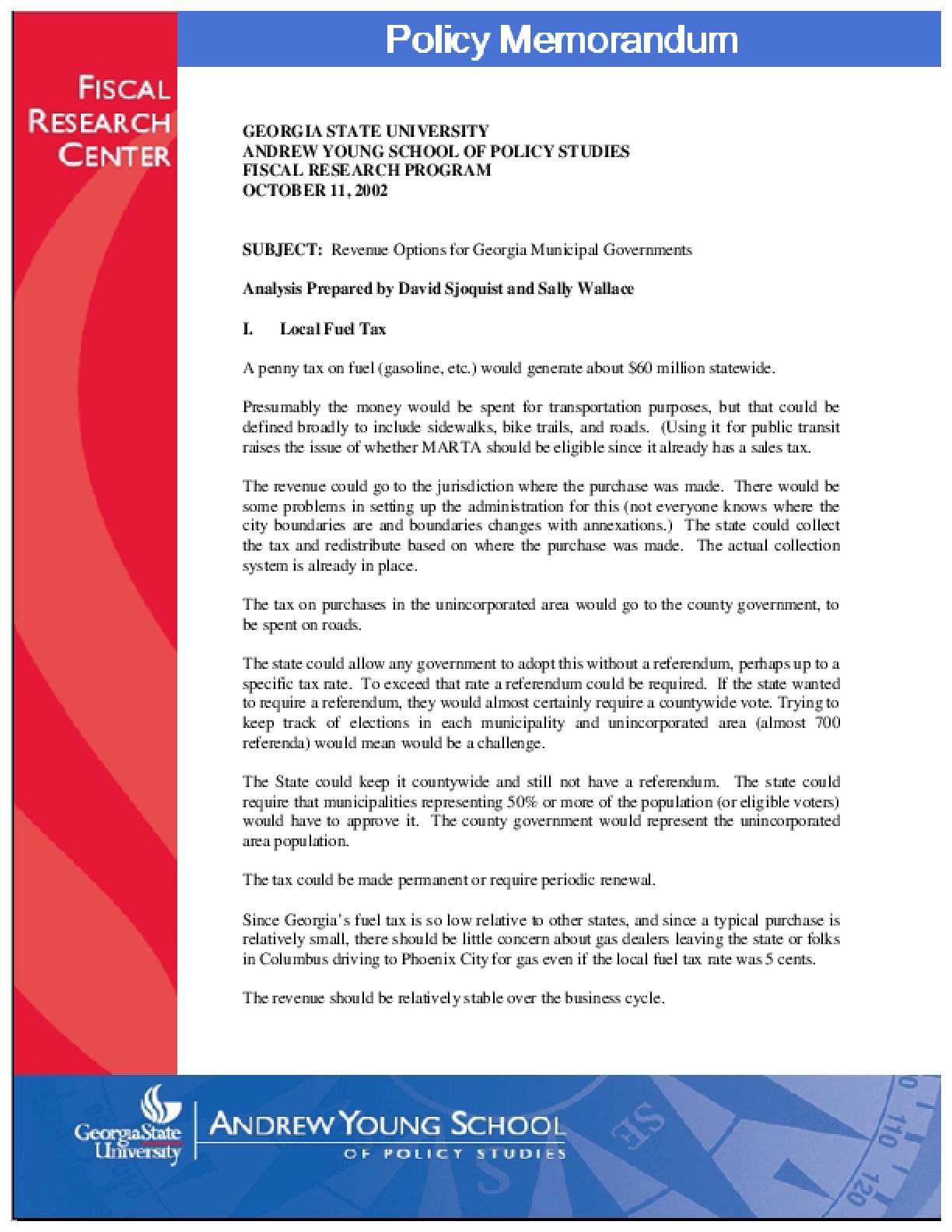 Revenue Options for Georgia Municipal Governments