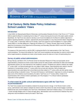 21st Century Skills State Policy Initiatives: School Leaders' Views