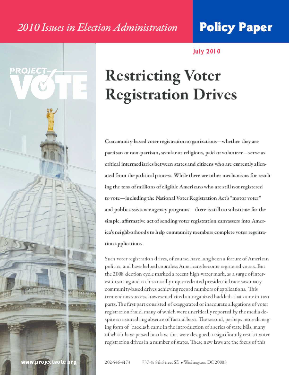 Restricting Voter Registration Drives