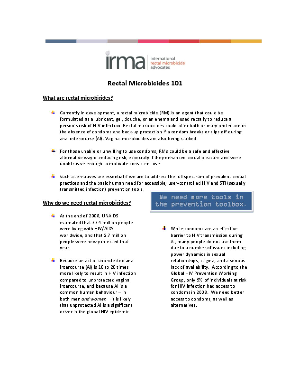 Rectal Microbicides 101