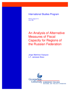 An Analysis of Alternative Measures of Fiscal Capacity for Regions of the Russian Federation
