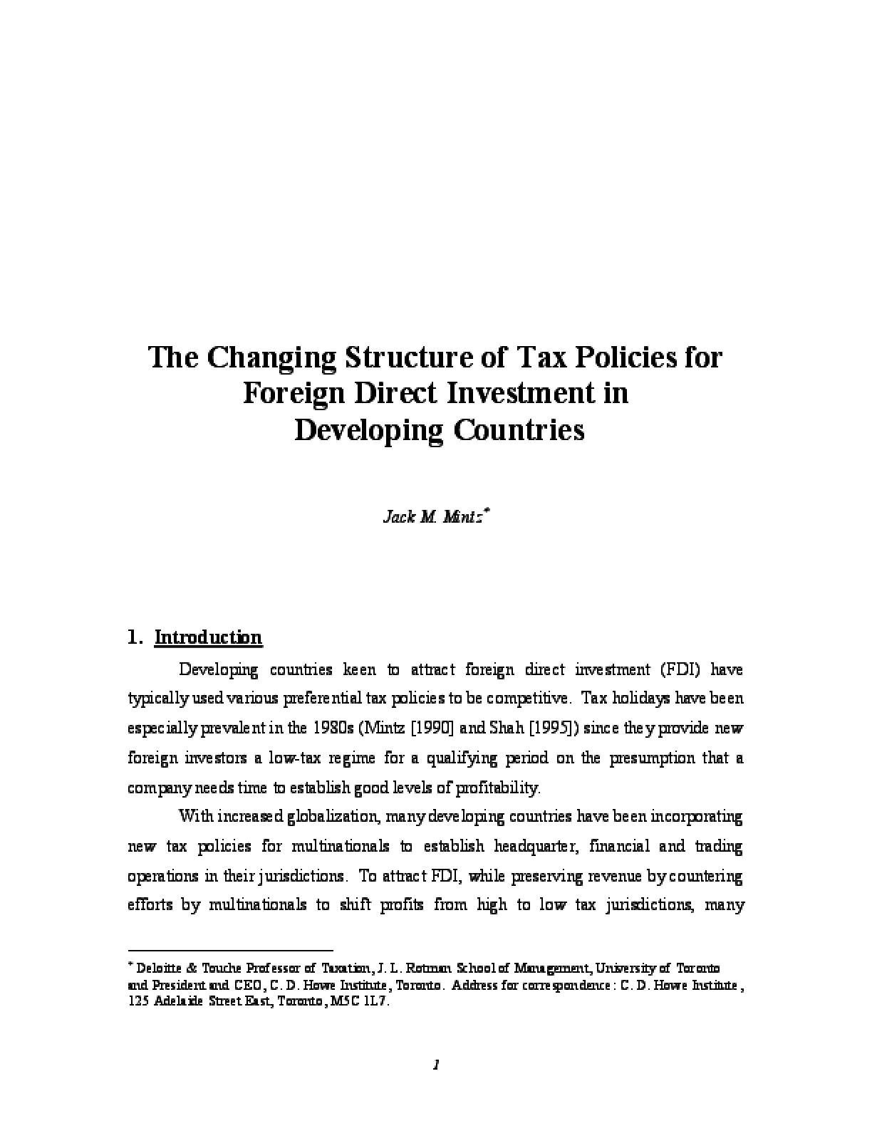 The Changing Structure of Tax Policies for Foreign Direct Investment in Developing Countries