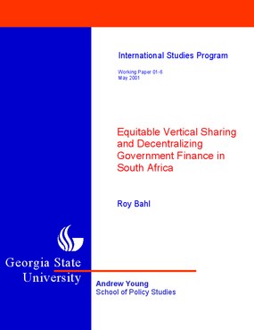 Equitable Vertical Sharing And Decentralizing Government Finance In South Africa