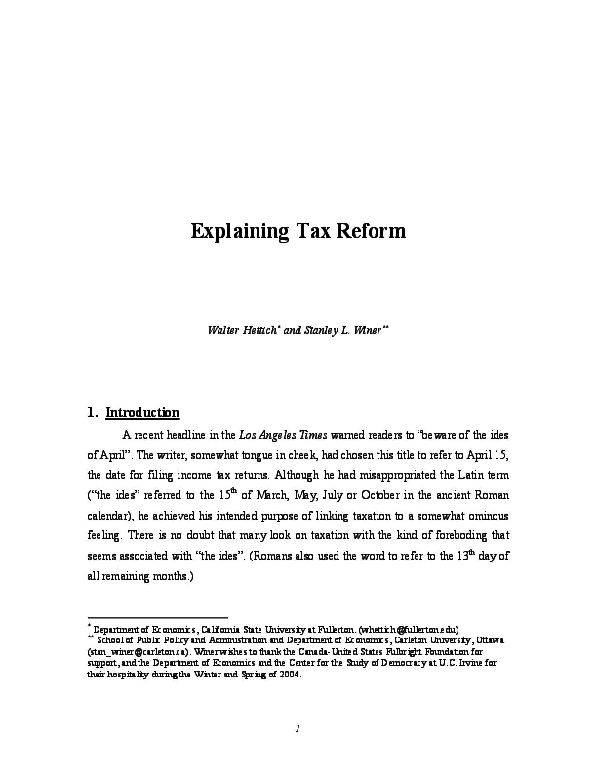 Explaining Tax Reform