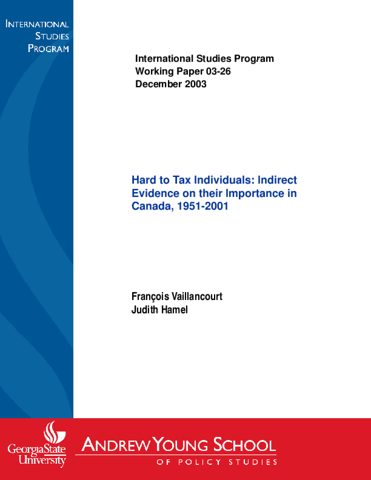 Hard to Tax Individuals: Indirect Evidence on Their Importance in Canada, 1951-2001