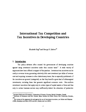 International Tax Competition and Tax Incentives in Developing Countries