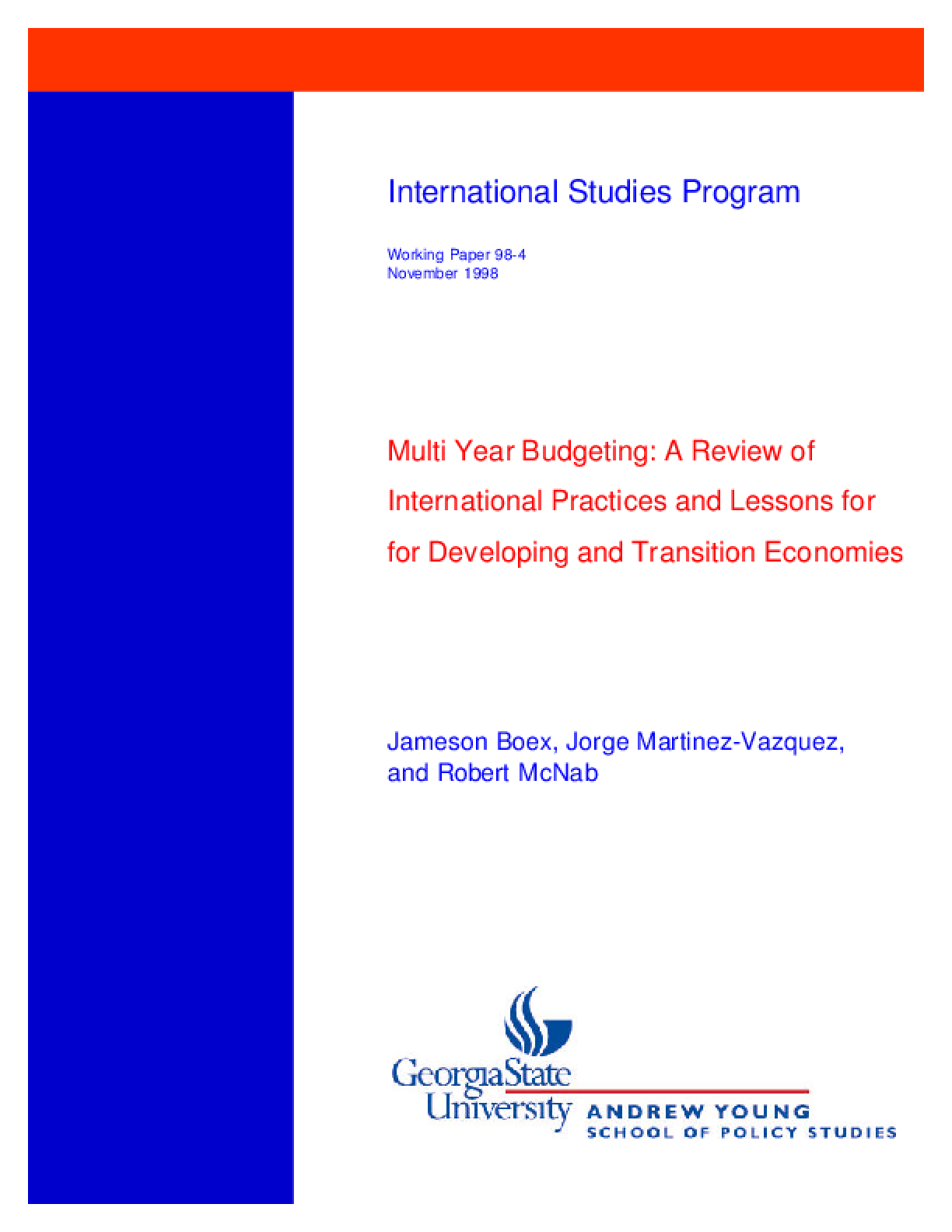 Multi-Year Budgeting: a Review of International Practices and Lessons for Developing and Transitional Economies