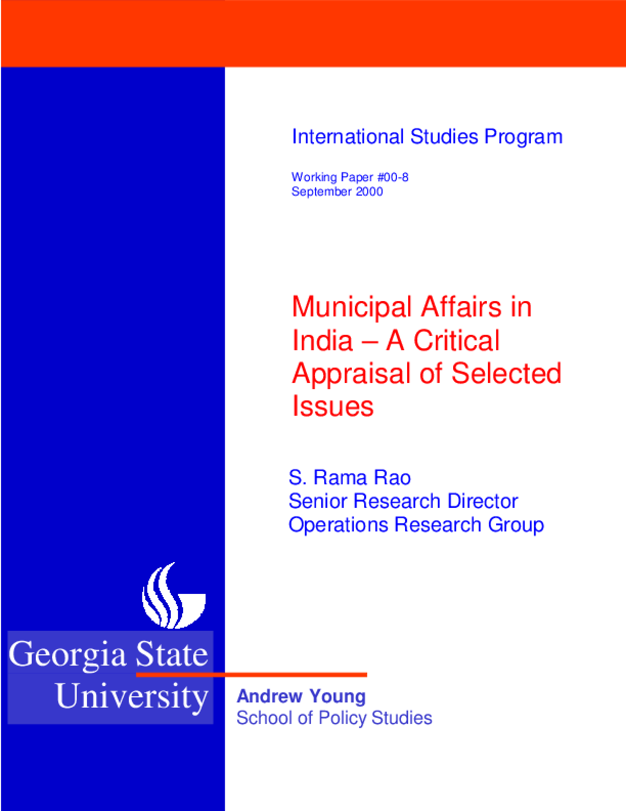 Municipal Affairs in India: A Critical Appraisal of Selected Issues