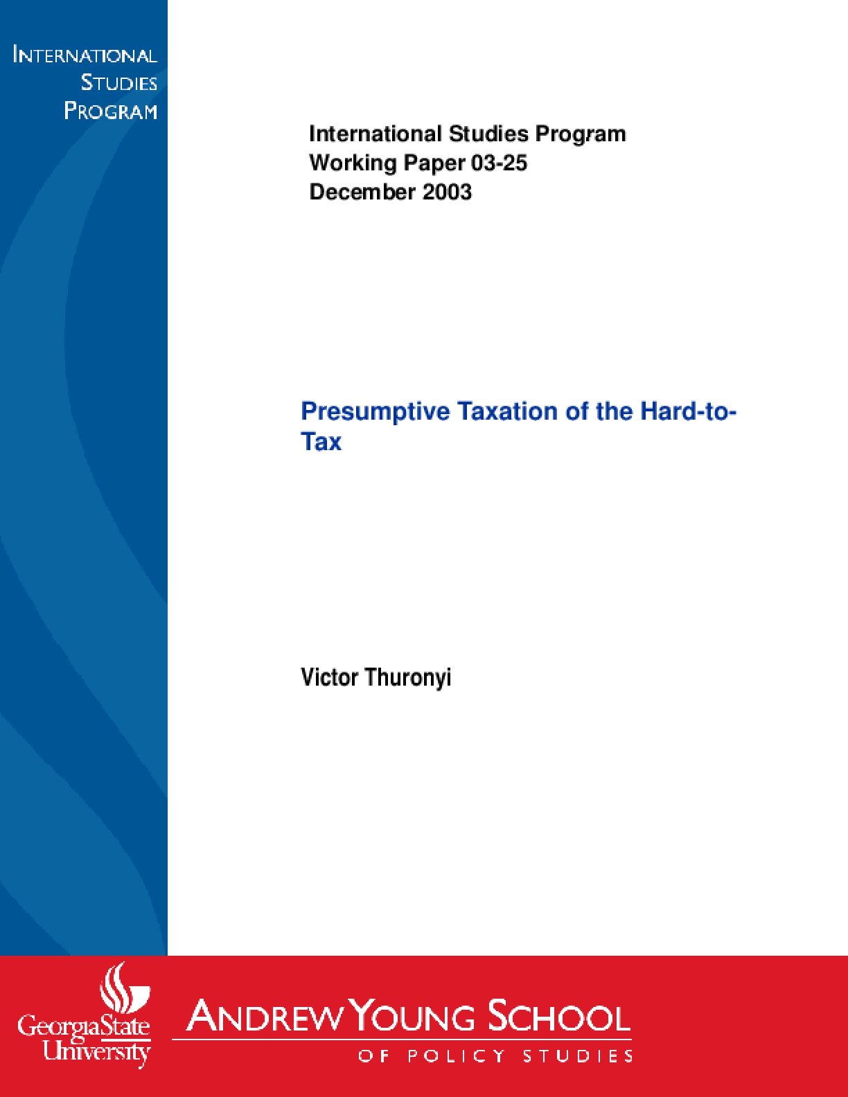 Presumptive Taxation of the Hard-to-Tax