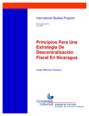 Principios Para Una Estrategia De Descentralizacion Fiscal En Nicaragua