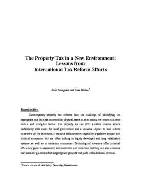 The Property Tax in a New Environment: Lessons from International Tax Reform Efforts