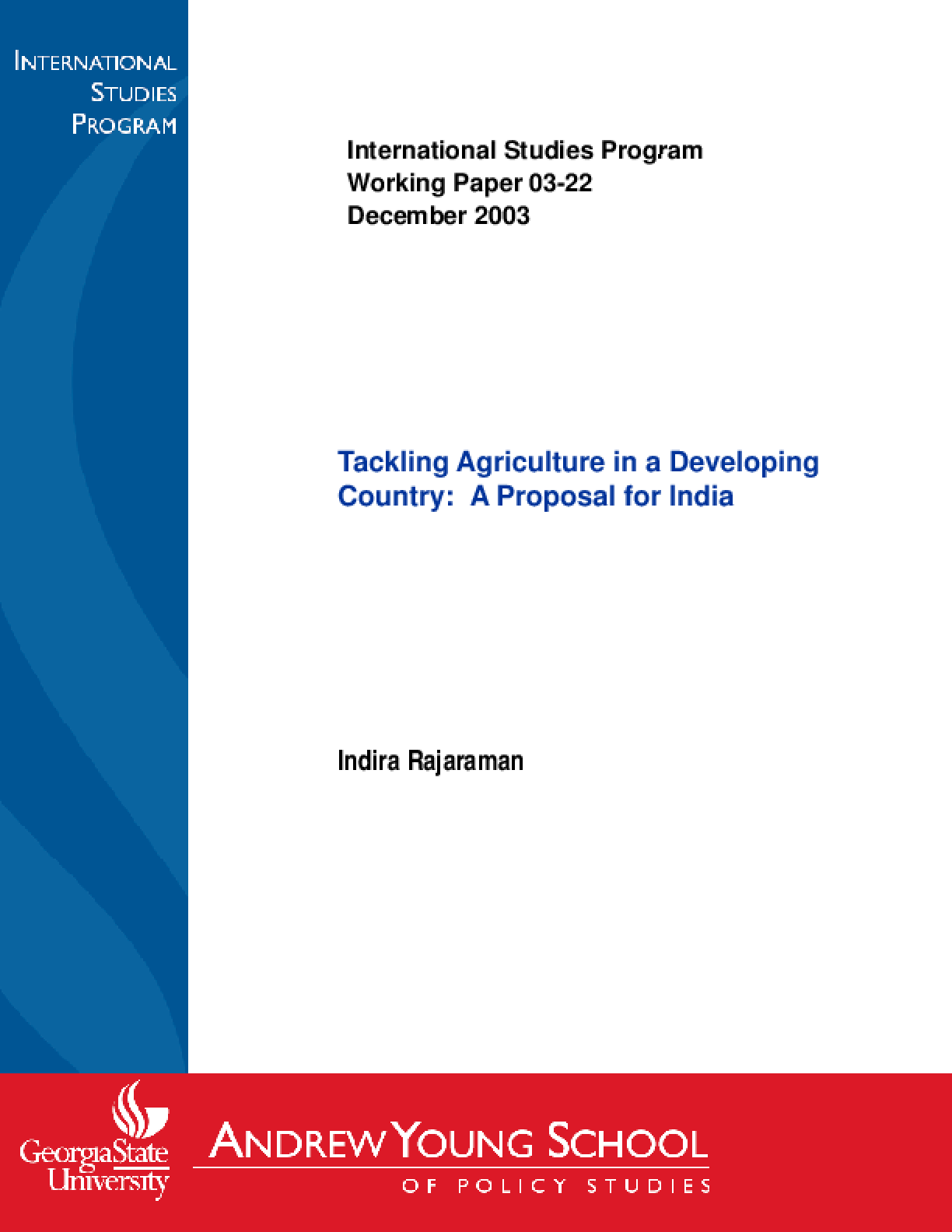 Tackling Agriculture in a Developing Country: a Proposal for India