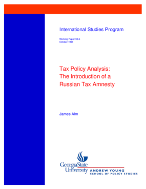 Tax Policy Analysis: the Introduction of a Russian Tax Amnesty