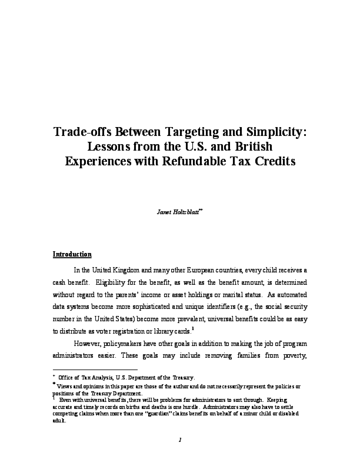 Trade-offs Between Targeting and Simplicity: Lessons from the U.S. and British Experiences with Refundable Tax Credits