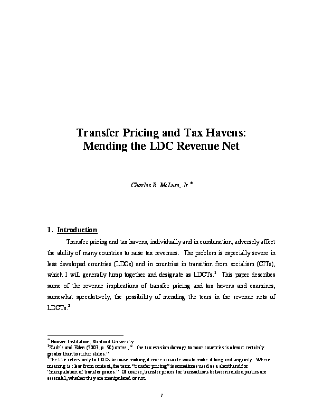Transfer Pricing and Tax Havens: Mending the LDC Revenue Net
