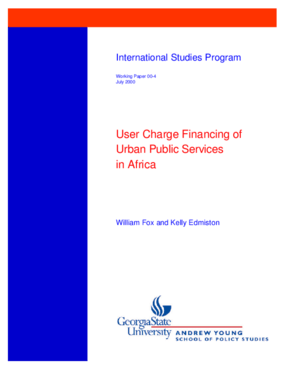 User Charge Financing of Urban Public Services in Africa
