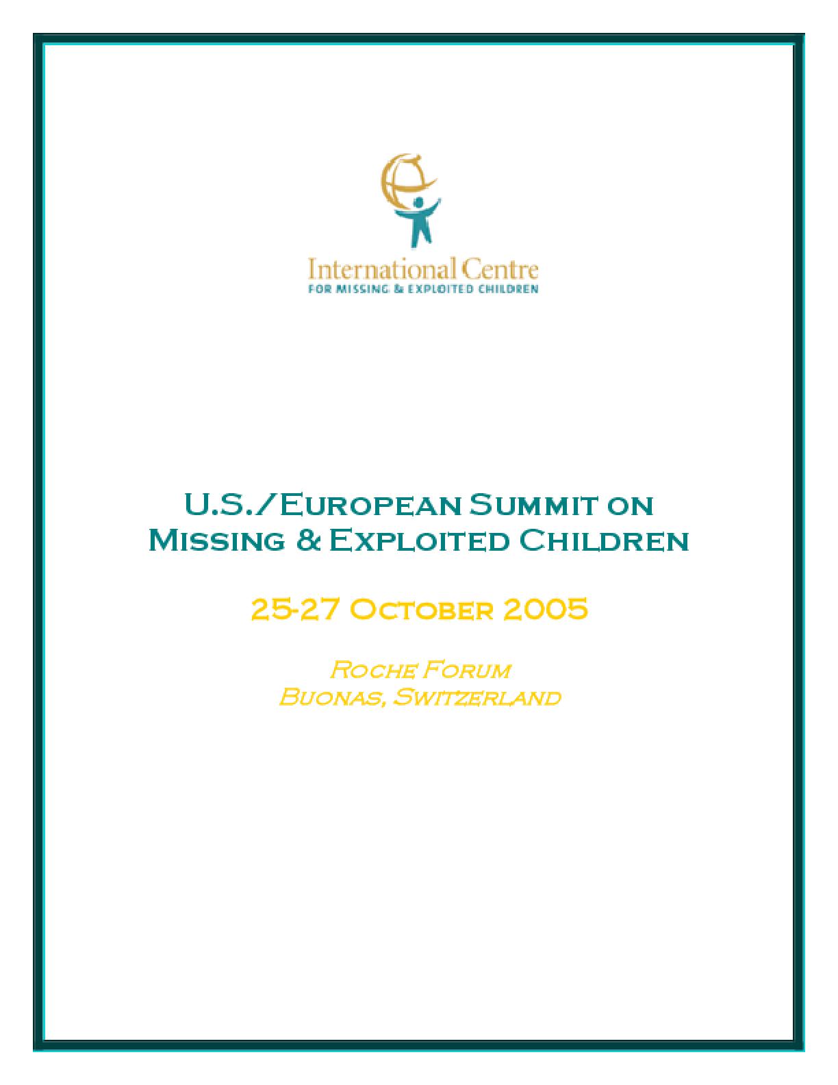 U.S./European Summit on Missing & Exploited Children