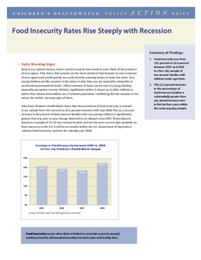 Food Insecurity Rates Rise Steeply with Recession
