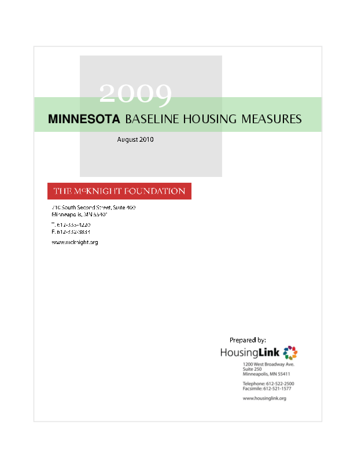 2009 Minnesota Baseline Housing Measures