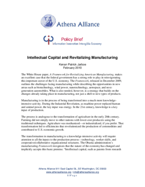 Intellectual Capital and Revitalizing Manufacturing