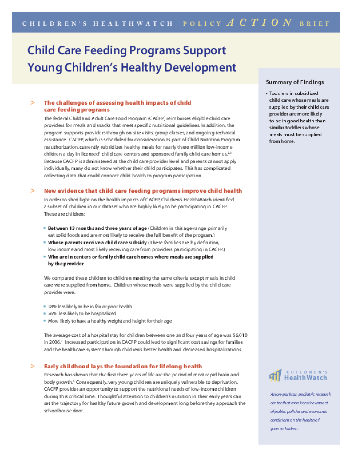 Child Care Feeding Programs Support Young Children's Healthy Development