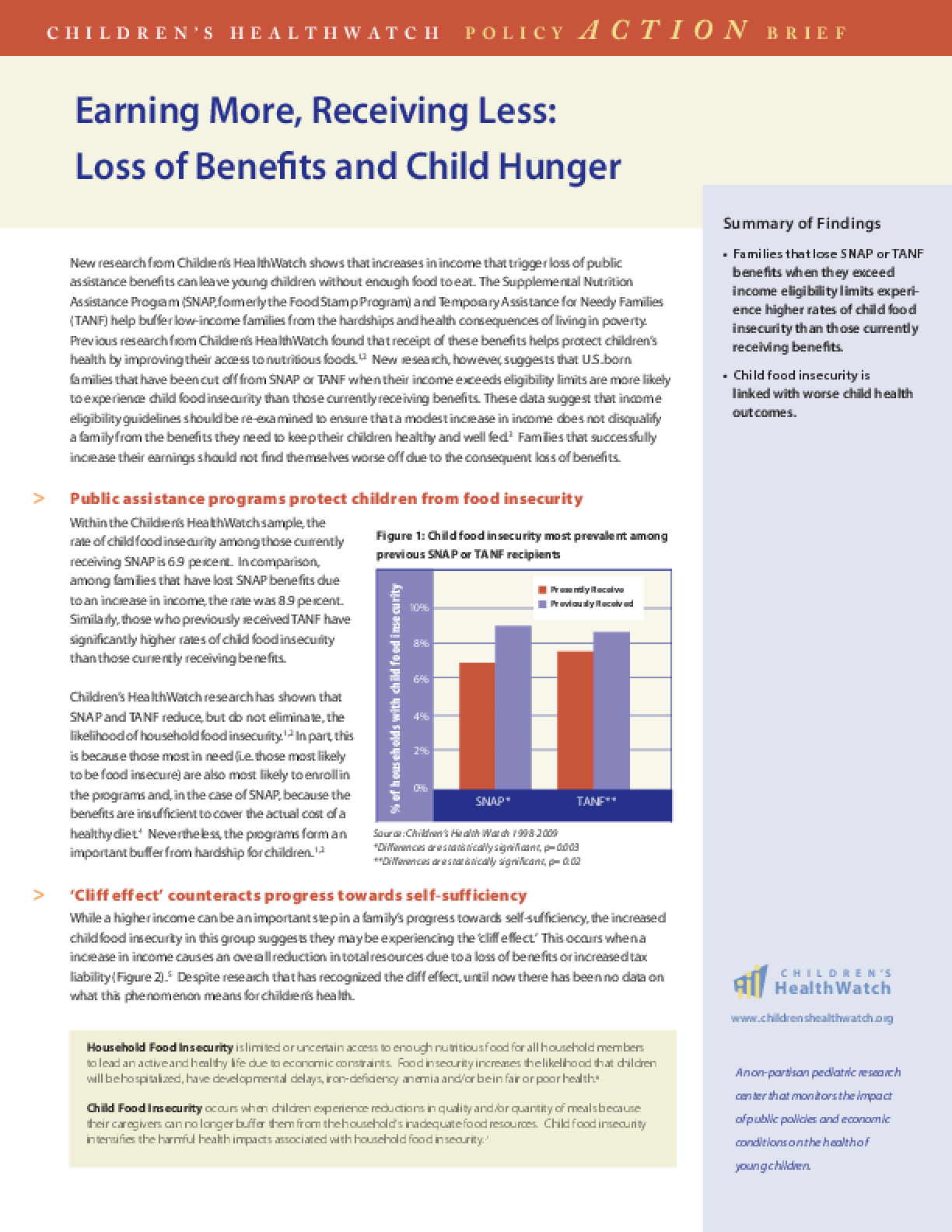 Earning More, Receiving Less: Loss of Benefits and Child Hunger