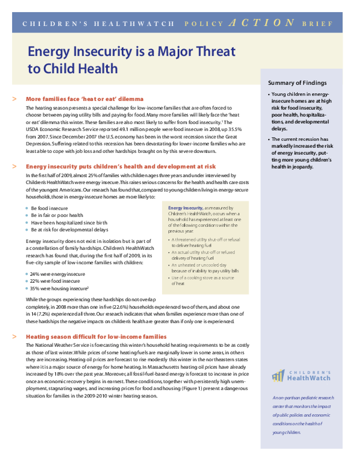 Energy Insecurity is a Major Threat to Child Health