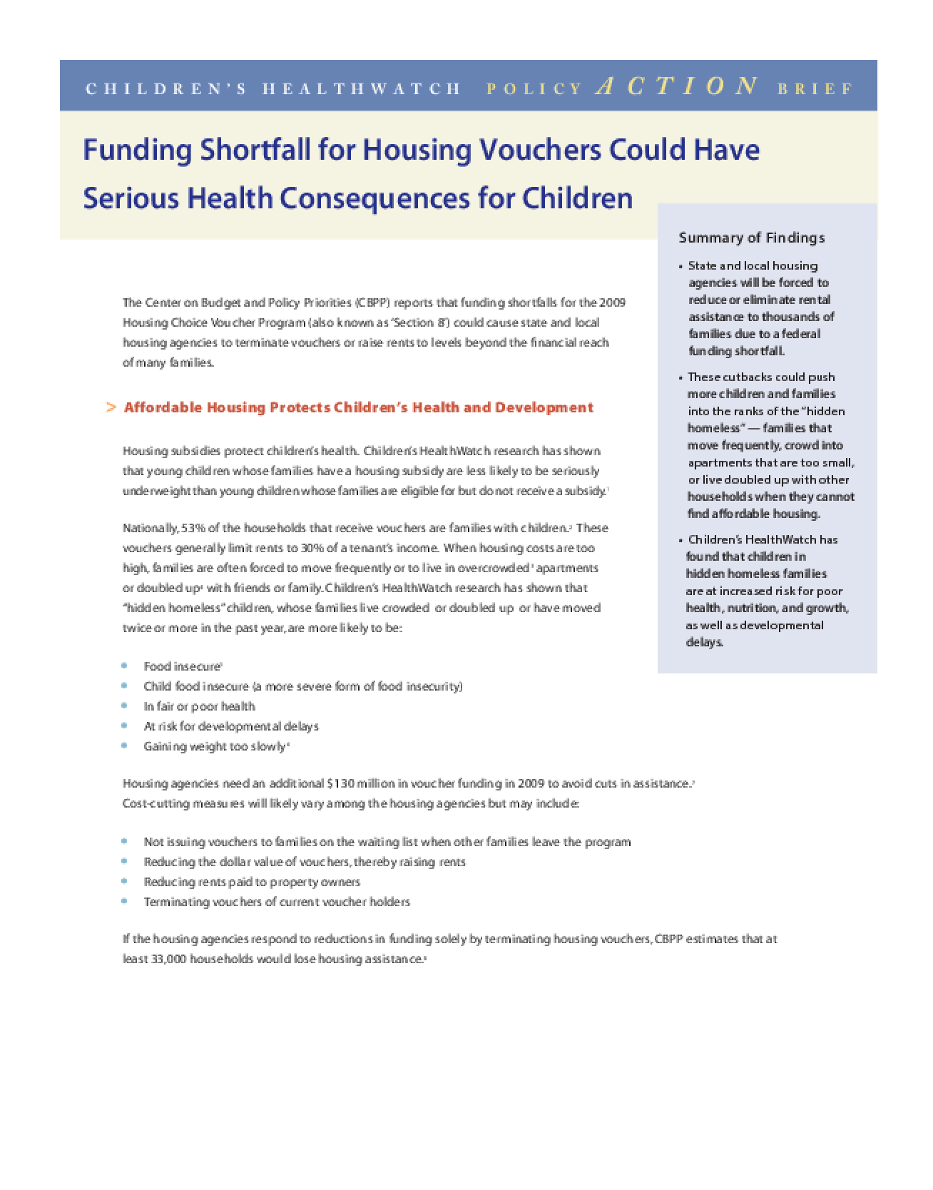 Funding Shortfall for Housing Vouchers Could Have Serious Health Consequences for Children