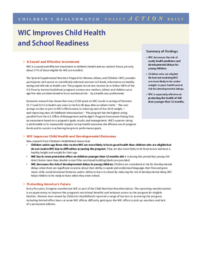 WIC Improves Child Health and School Readiness