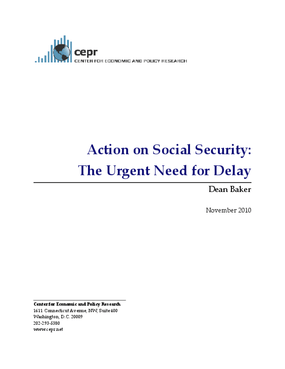 Action on Social Security: The Urgent Need for Delay