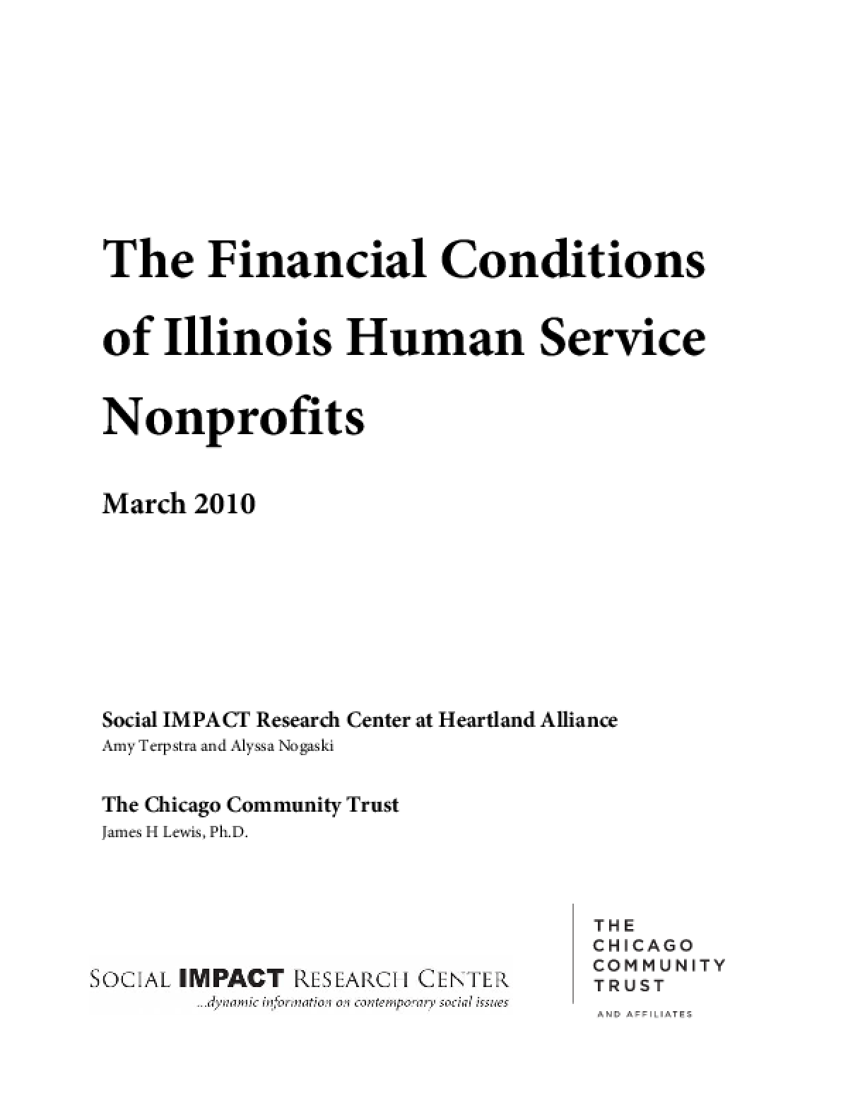 The Financial Conditions of Illinois Human Service Nonprofits