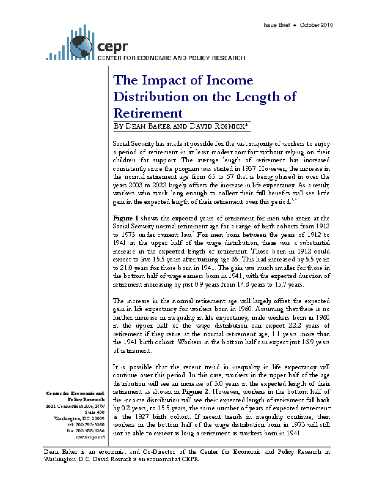 The Impact of Income Distribution on the Length of Retirement