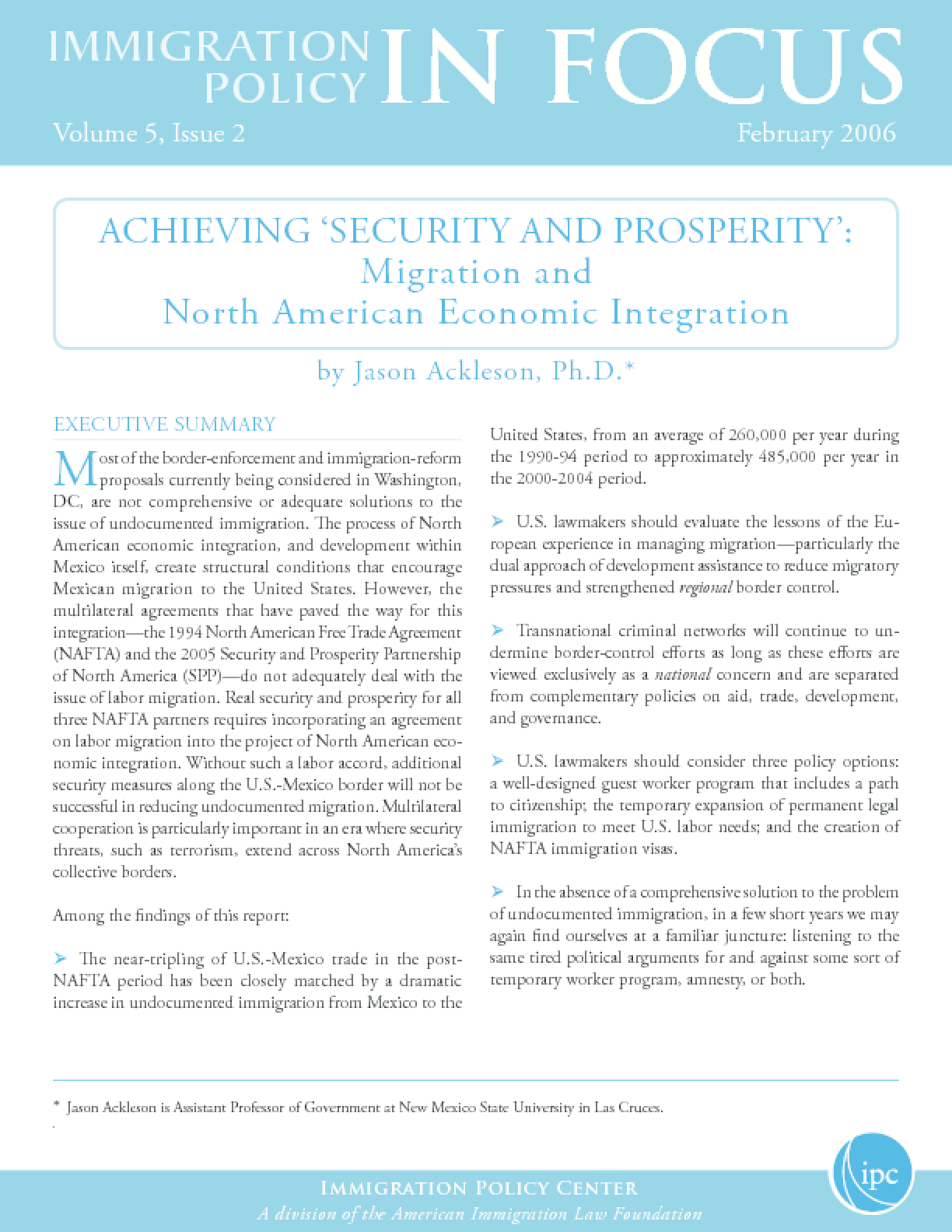 Achieving 'Security and Prosperity': Migration and North American Economic Integration